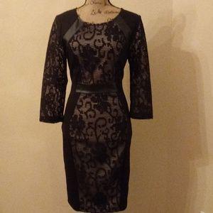 Venus Faux Leather Trim Dress